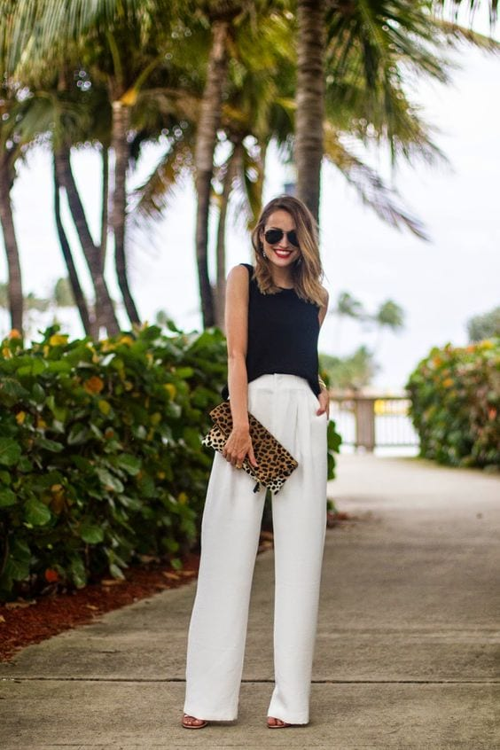 white wide leg pants with black top