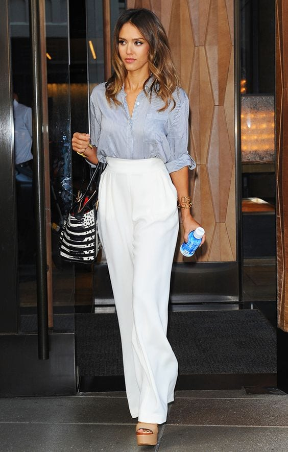 work outfit with white wide leg pants