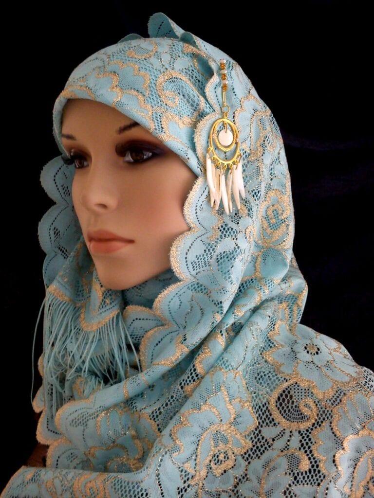 Gold-Lame-Lace-Shawl-Fancy-Hijab-281211-2-768x1024 Muslim Wedding Gift Ideas-20 best Gifts for Islamic Weddings