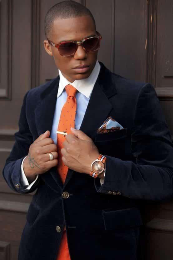 navy-blazer-light-blue-dress-shirt-orange-tie-light-blue-pocket-square-original-1749 Men Velvet Blazer Outfits-17 Ideas on How to Wear Velvet Blazer