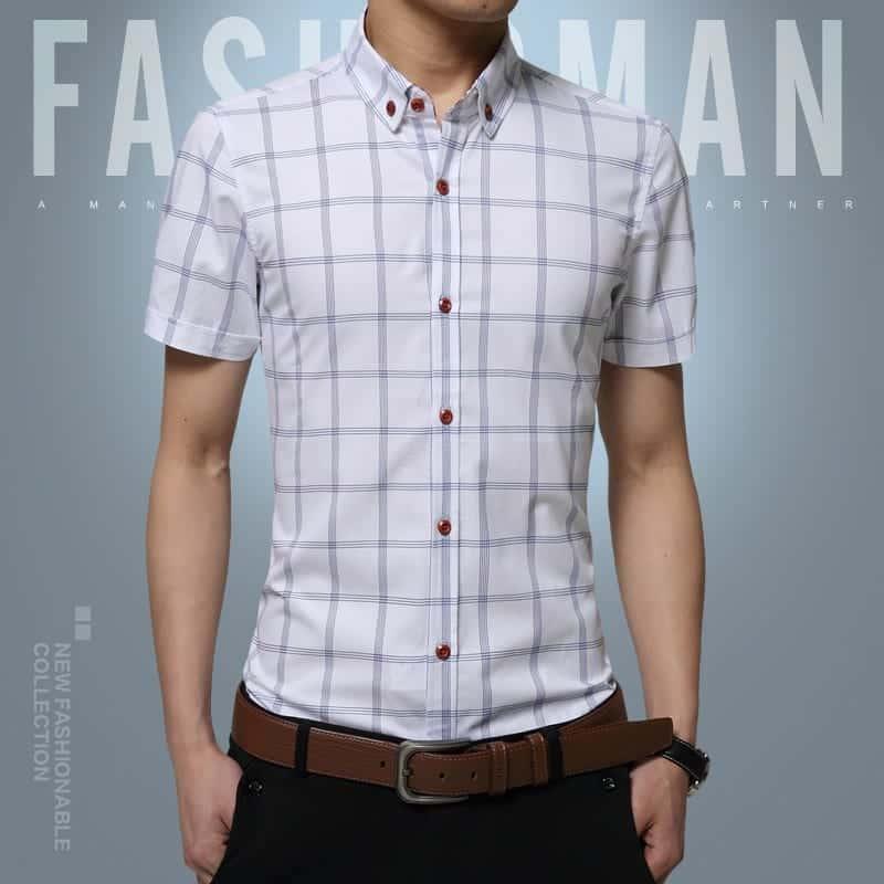 2016-brand-grid-stripe-font-b-men-b-font-shirt-short-sleeve-shirt-slim-fit-casual