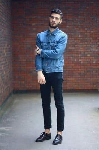 blue-denim-jacket-black-skinny-jeans-dark-purple-leather-derby-shoes-large-3994 Men's Outfits with Skinny Jeans-18 Ways to wear Skinny Jeans