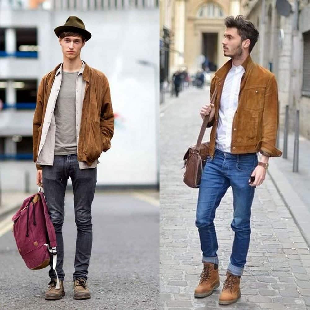 brown-suede-jacket-denim-jeans-men-style-photo-grid Men's Outfits with Skinny Jeans-18 Ways to wear Skinny Jeans
