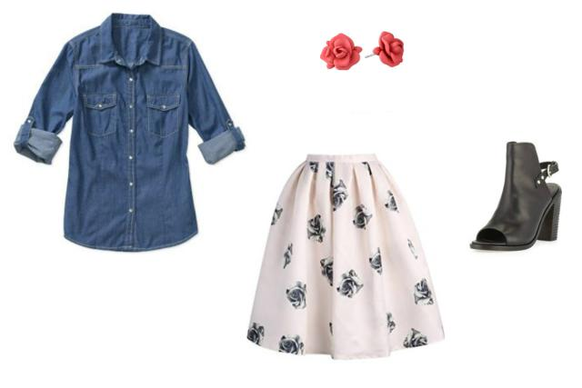 date-outfit-skirt-denim-shirt Date Outfits for Women - 20 Best Outfits to wear on a Date