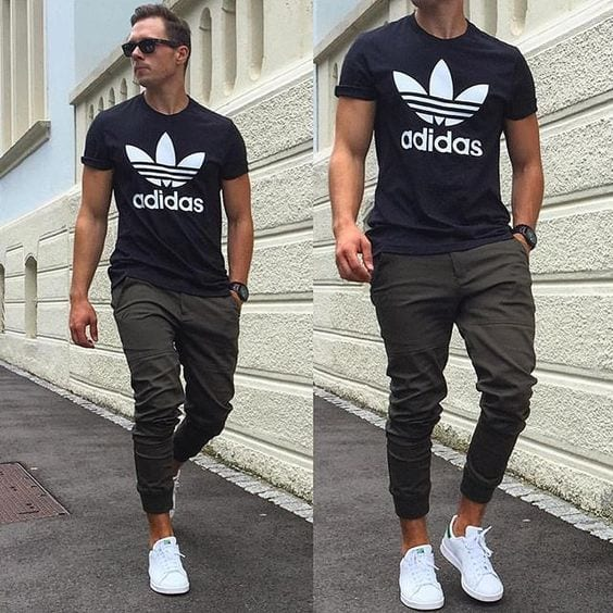 outfits-with-adidas-sneakers-for-men5 How to Style Adidas Superstar Men-18 Outfits with Adidas Sneakers
