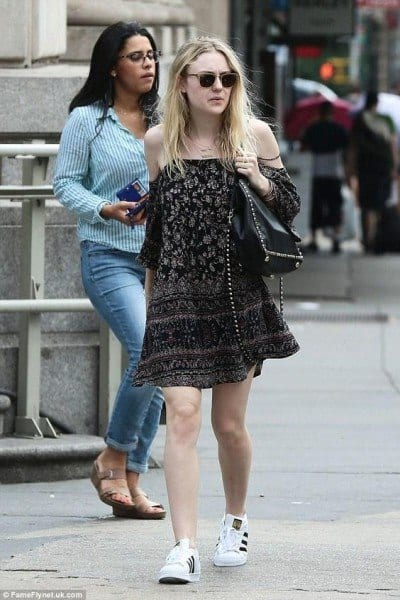 Dakota-Fanning-was-spotted-pairing-an-off-the-shoulder-dress-with-a-pair-of-adidas-Originals-Superstar-sneaks.-400x600 Cutest Outfits with Sneakers-18 Best Sneaker Styles for Girls 2018
