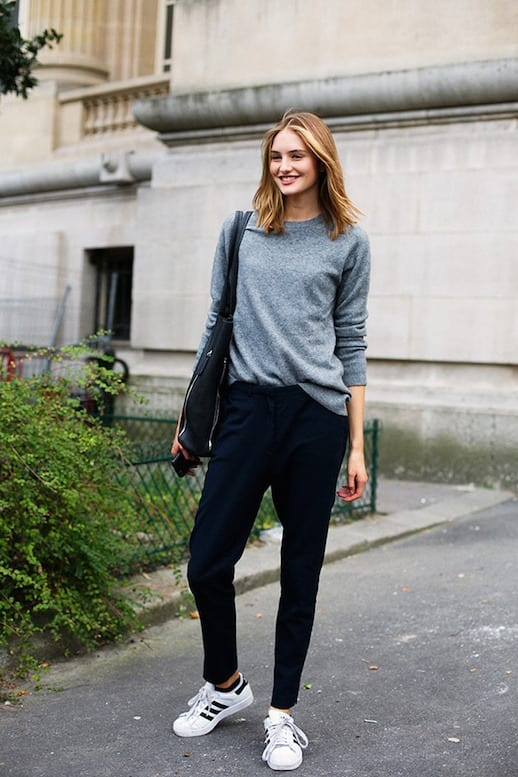 Le-Fashion-Blog-25-Ways-To-Wear-Adidas-Sneakers-Grey-Sweater-Slouchy-Pants-Original-Superstar-Street-Style-Via-Vogue-Spain 30 Cute Outfits with Adidas Shoes for Girls to try this Year
