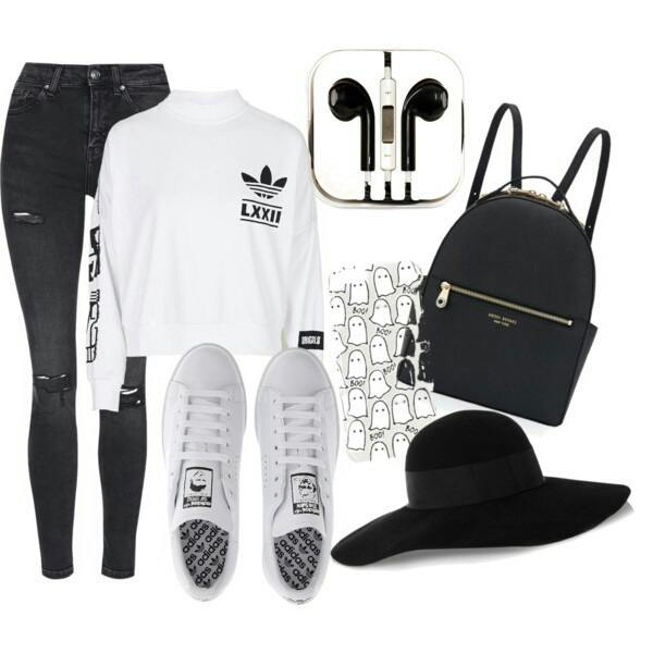 adidas-black-fashion-polyvore-Favim.com-3735944 30 Cute Outfits with Adidas Shoes for Girls to try this Year