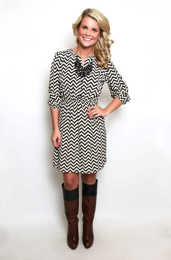Black-and-White-Zigzag-Dress Casual Outfits for Women - 23 Cute Dresses for Casual Look