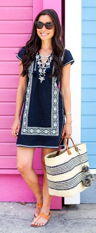 Blue-and-White-Boho-Dress Casual Outfits for Women - 23 Cute Dresses for Casual Look