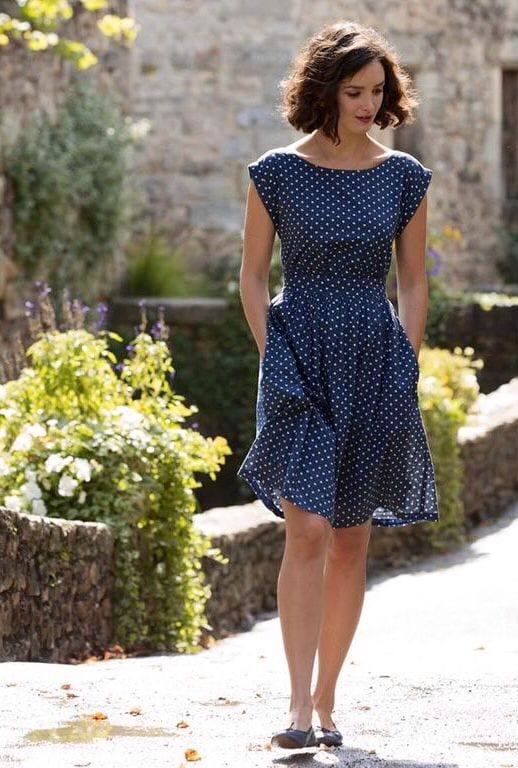Blue-and-White-Polka-Dot-Dress- Casual Outfits for Women - 23 Cute Dresses for Casual Look