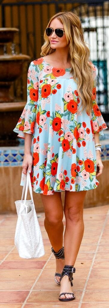 Bright-Orange-Floral-Dress-364x1024 Casual Outfits for Women - 23 Cute Dresses for Casual Look