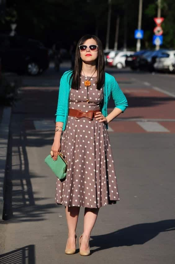 Brown-Polka-Dot-Dress Casual Outfits for Women - 23 Cute Dresses for Casual Look