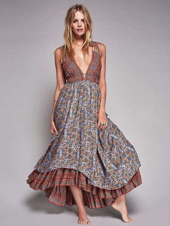 Patterned-Floral-Long-Dress Casual Outfits for Women - 23 Cute Dresses for Casual Look