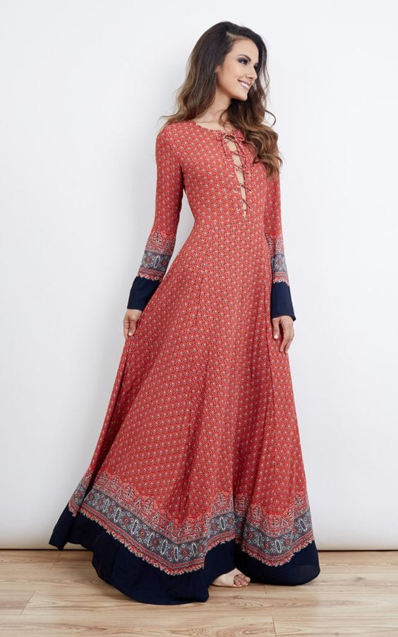 Pink-Patterned-Long-Dress-II Casual Outfits for Women - 23 Cute Dresses for Casual Look