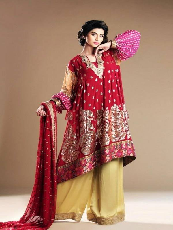 13-Pakistani-Party-wear-winter-dresses-ideas-13 Kurtis With Palazzo Pants-18 Ways to Wear Palazzo with Kurtis