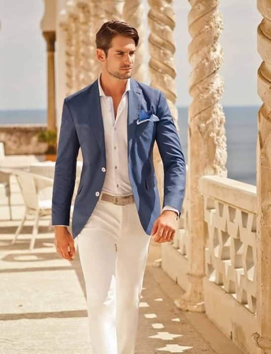 Combination Of White And Blue Casual Wedding Outfits For Men 18