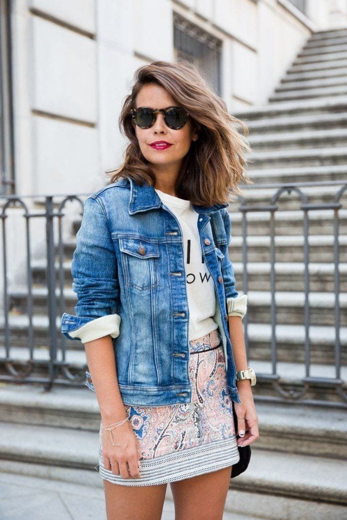 Denim-jackets-with-dress Casual Outfits for Teen girls-19 Cute Dresses for Casual Look