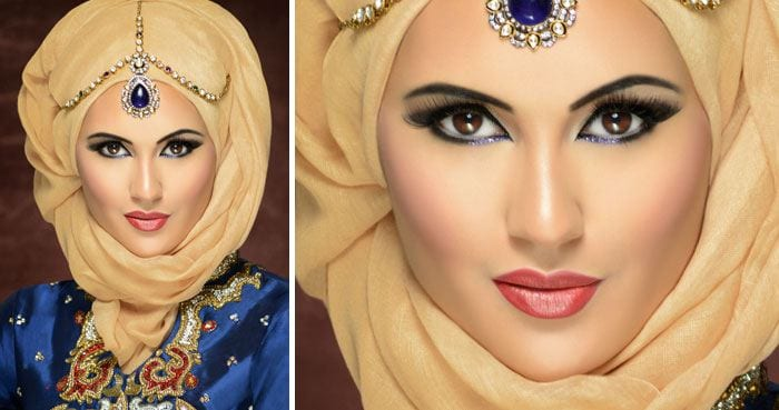 arabic-hijab-styles-2015-7 Maang Tikka With Hijab – 17 Ways To Wear Hijab With Maatha Patti