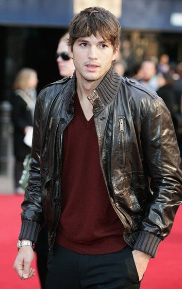 ashton-kutcher-leather-bomber-jacket How to Wear Bomber Jacket Men-18 Outfits with Bomber Jackets