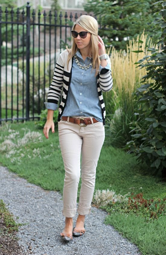 casual-party-look Outfits with Striped Sweater-23 Ways to Wear Sweaters with Stripes