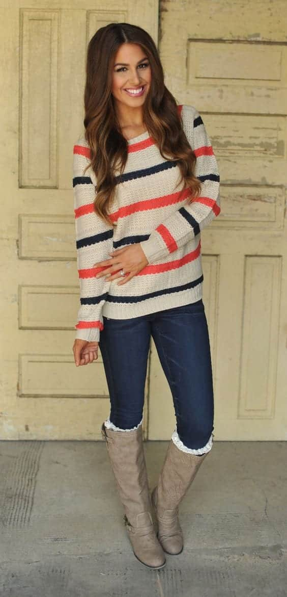 footwear-with-striped-sweaters Outfits with Striped Sweater-23 Ways to Wear Sweaters with Stripes