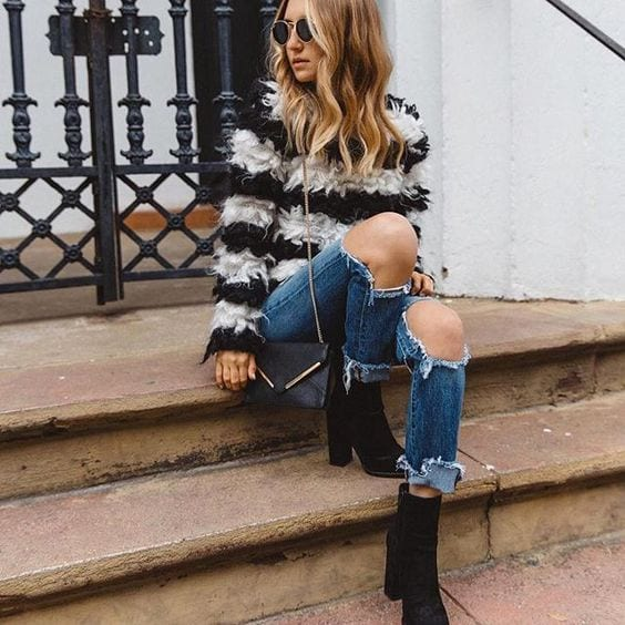 fur-sweaters-to-look-different Outfits with Striped Sweater-23 Ways to Wear Sweaters with Stripes