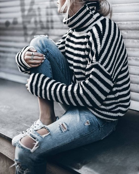 highneck-sweater Outfits with Striped Sweater-23 Ways to Wear Sweaters with Stripes
