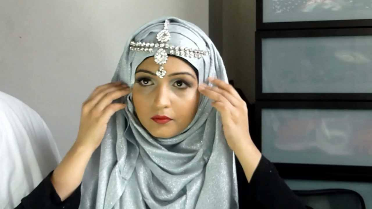 latest-Hijab-fashion-with-matha-patti-style-ideas-17 Maang Tikka With Hijab – 17 Ways To Wear Hijab With Maatha Patti