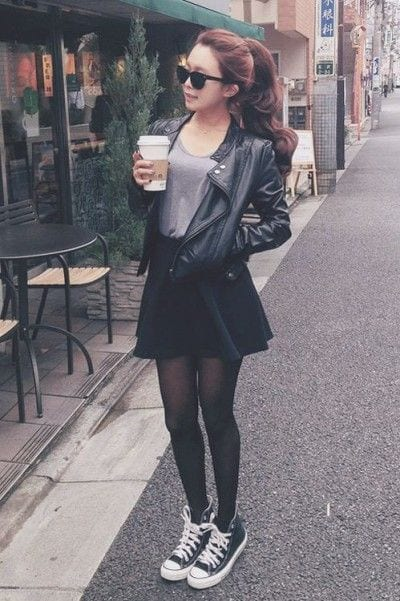 leather-jacket-with-skirt Casual Outfits for Teen girls-19 Cute Dresses for Casual Look