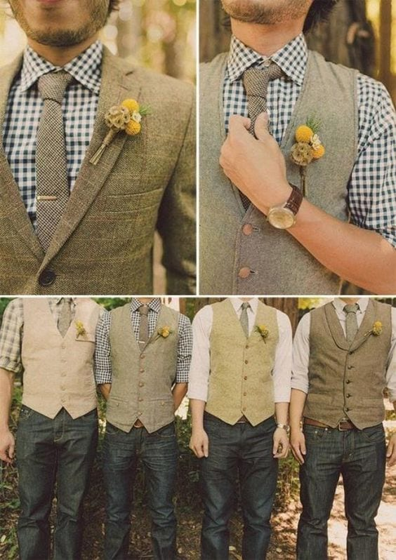 patterened-shirts-with-waist-coat Casual Wedding Outfits for Men -18 Ideas What to Wear as Wedding Guest