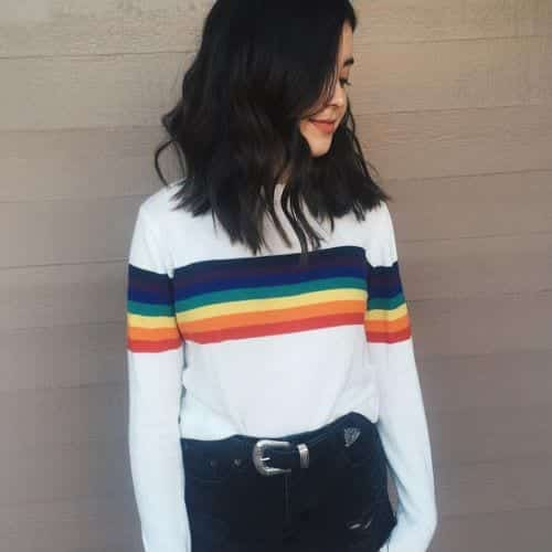 rainbow-stripes Outfits with Striped Sweater-23 Ways to Wear Sweaters with Stripes