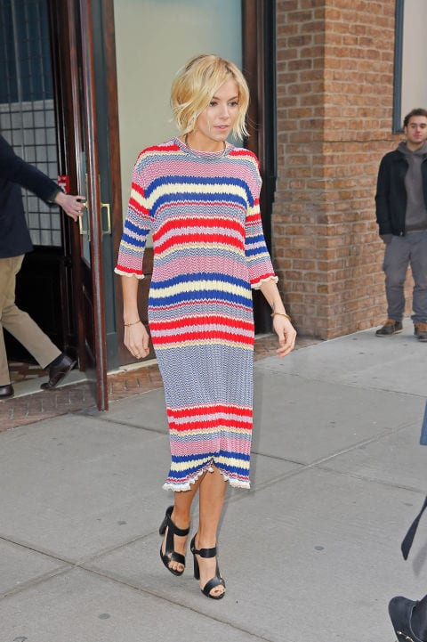 striped-sweater-dress Outfits with Striped Sweater-23 Ways to Wear Sweaters with Stripes
