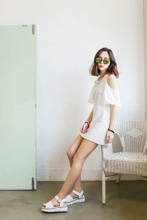 white-lace-dress Casual Outfits for Teen girls-19 Cute Dresses for Casual Look