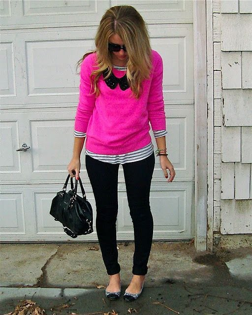Hot pink sweater to wear on friends-day-out
