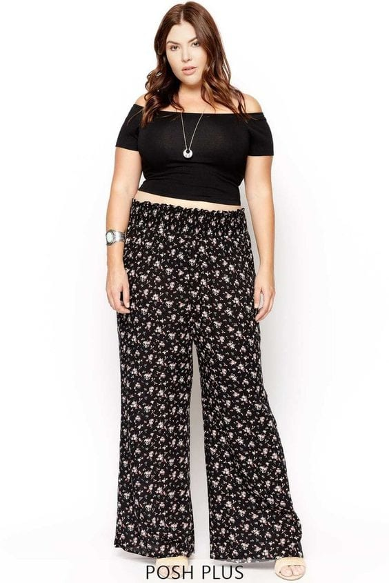 Add-crop-top Palazzo Pants for Plus Size–24 Palazzo Outfit Ideas for Curvy Girls