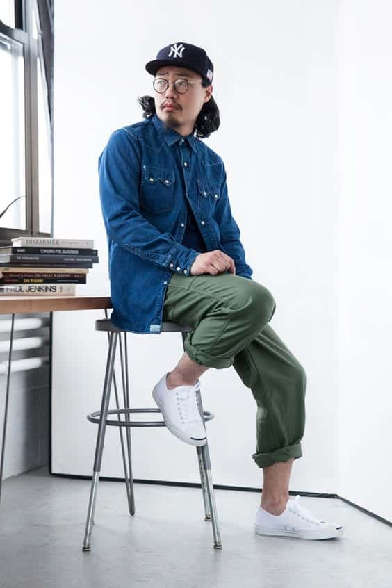 blue slim fit cargo pants man
