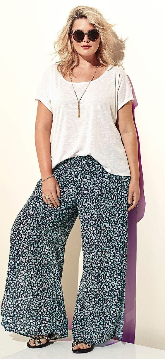 The-monochrome-look Palazzo Pants for Plus Size–24 Palazzo Outfit Ideas for Curvy Girls