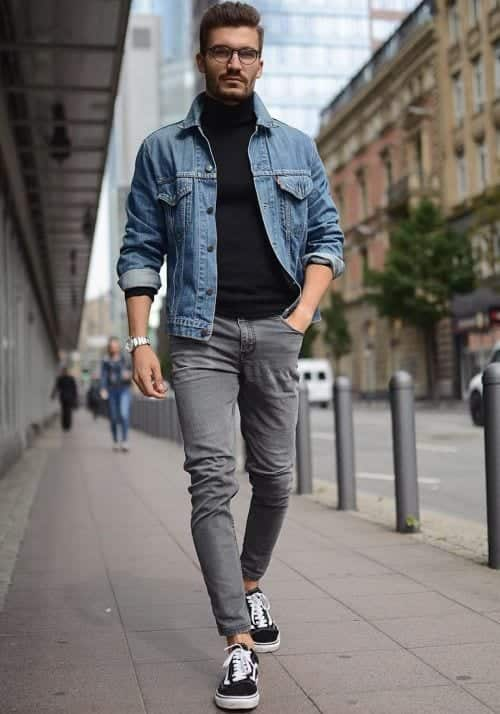 Turtleneck-Denim-Jacket Denim Jackets Outfits For Men – 17 Ways To Wear Denim Jacket