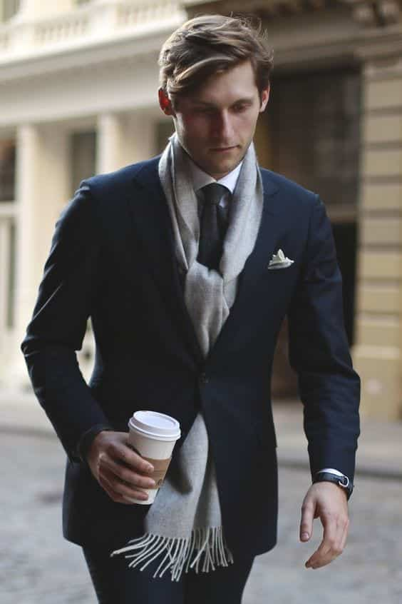 Wearing-Scarves-With-Suits Men Scarves Fashion - 18 Tips How to Wear Scarves for Guys
