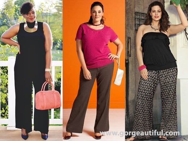 add-Dark-colors Palazzo Pants for Plus Size–24 Palazzo Outfit Ideas for Curvy Girls