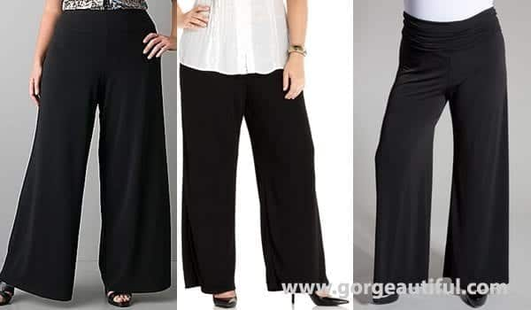 black-is-essential Palazzo Pants for Plus Size–24 Palazzo Outfit Ideas for Curvy Girls
