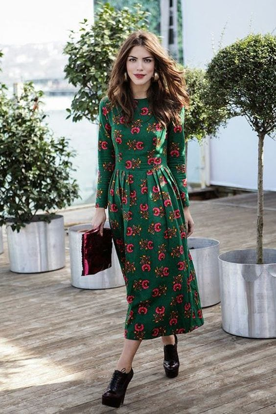 floral-long-dress Outfits for Winter Wedding - 19 Best Winter Dresses for Wedding