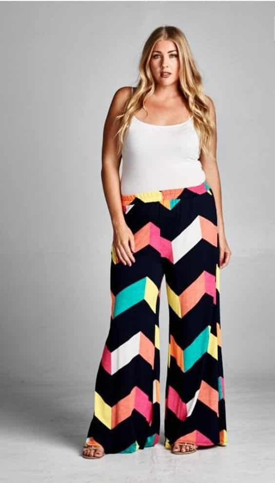 go-multicolor Palazzo Pants for Plus Size–24 Palazzo Outfit Ideas for Curvy Girls