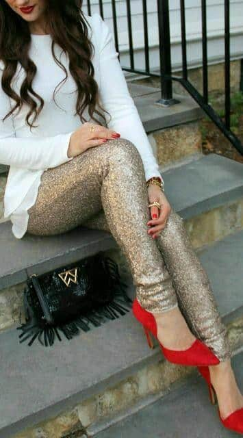 golden-tights-with-red-shoes Women's Outfits with Red Shoes- 30 Outfits to Wear with Red Shoes