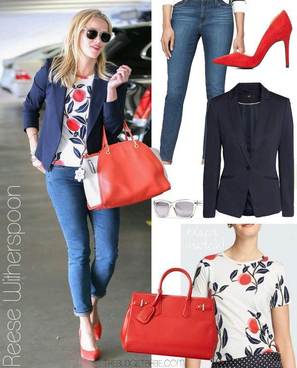 high-heel-red-with-floral-shirt-and-jeans Women's Outfits with Red Shoes- 30 Outfits to Wear with Red Shoes