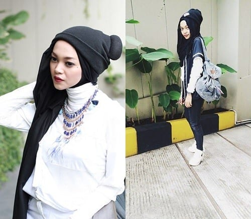 hijab-with-beanie-hat-2 Hijab with Hats Styles-18 Modest Ways to Wear Caps with Hijab