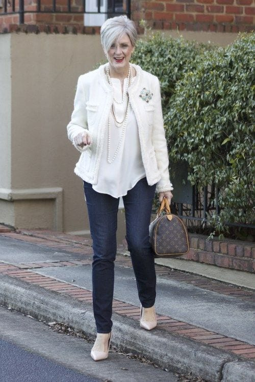 How to wear skinny jeans over 60