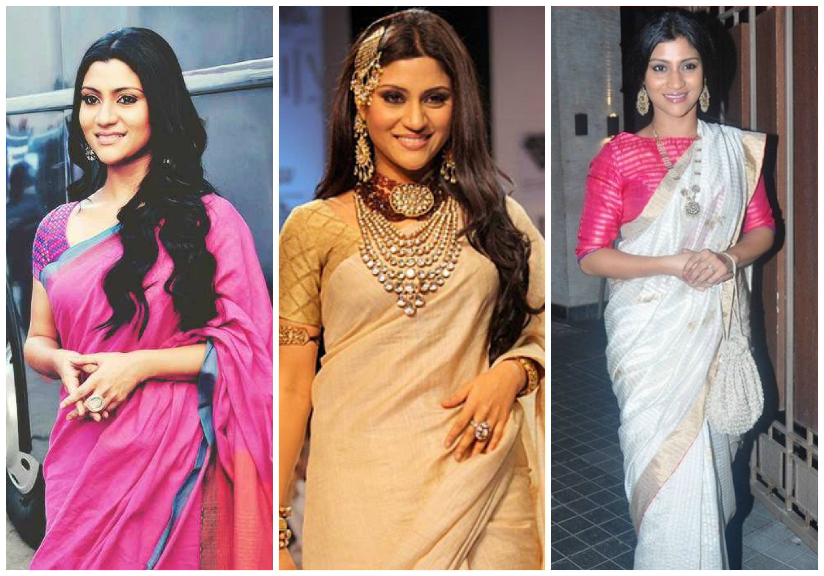 konkona-sen-sharma-in-sarees How to Wear Saree for Short Height? 14 Pro Tips for Short Girls
