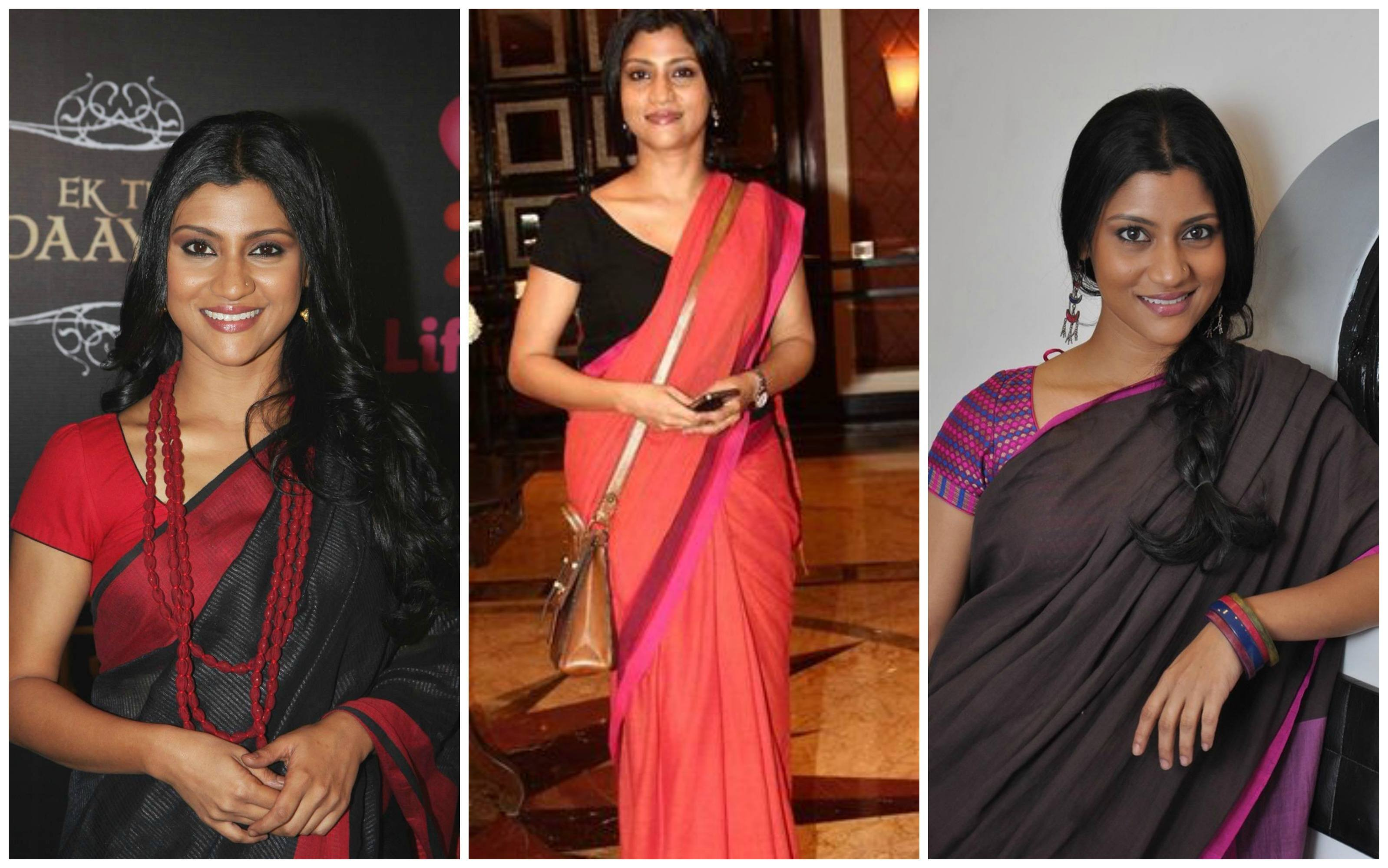 konkona-sen-sharma-wearing-saree How to Wear Saree for Short Height? 14 Pro Tips for Short Girls